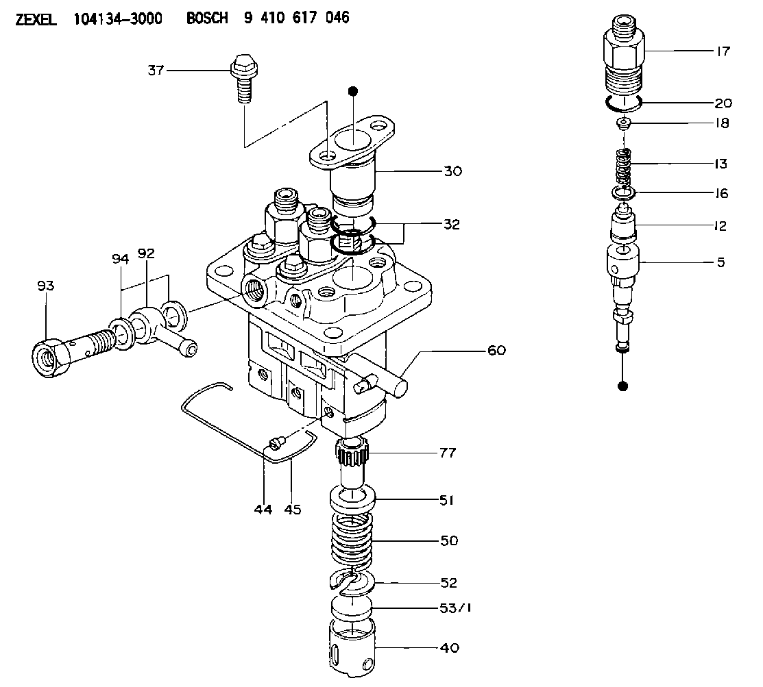 104134 3000 Zexel 9 410 617 046 Bosch Fuel Injection Pump