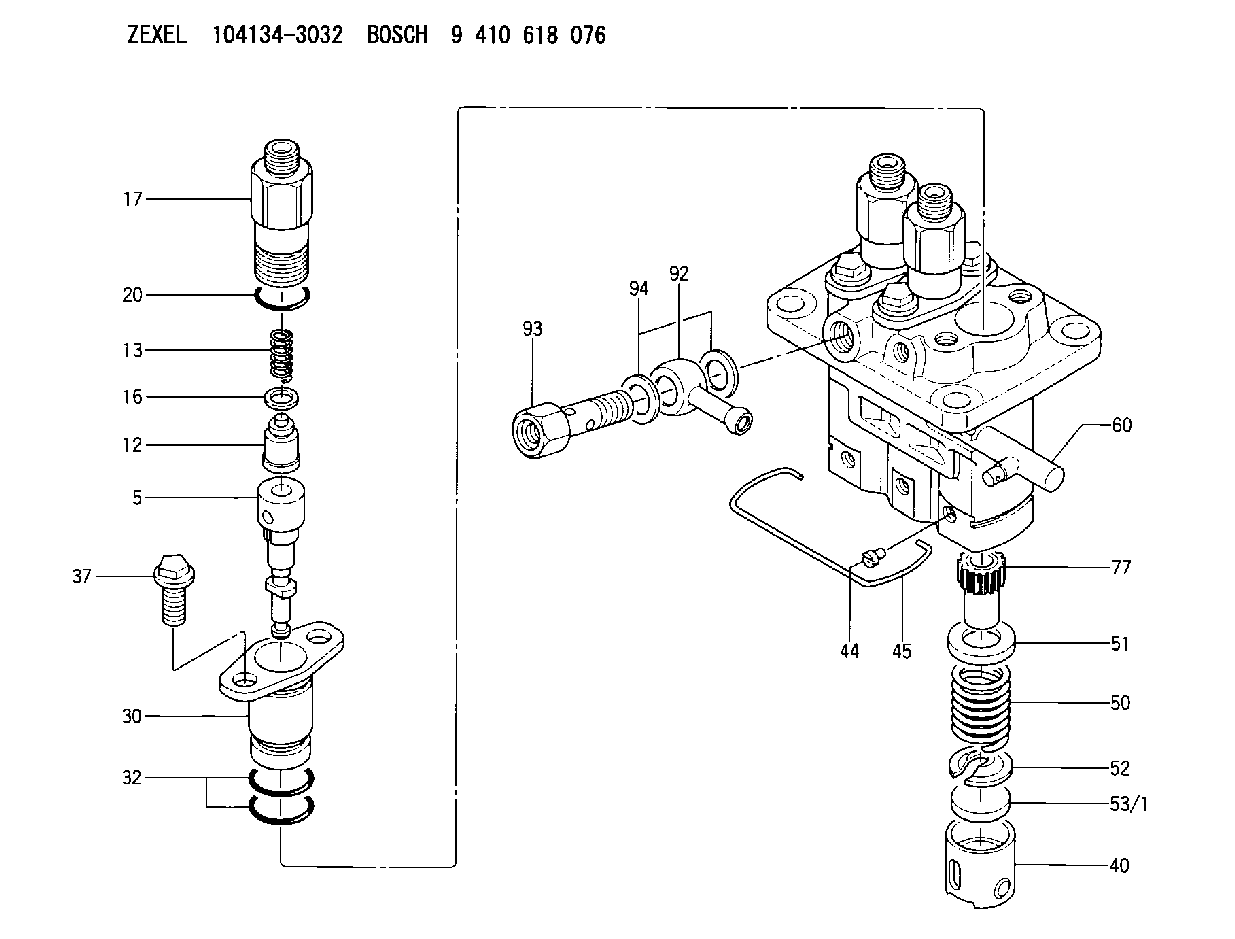 104134 3032 Zexel 9 410 618 076 Bosch Fuel Injection Pump