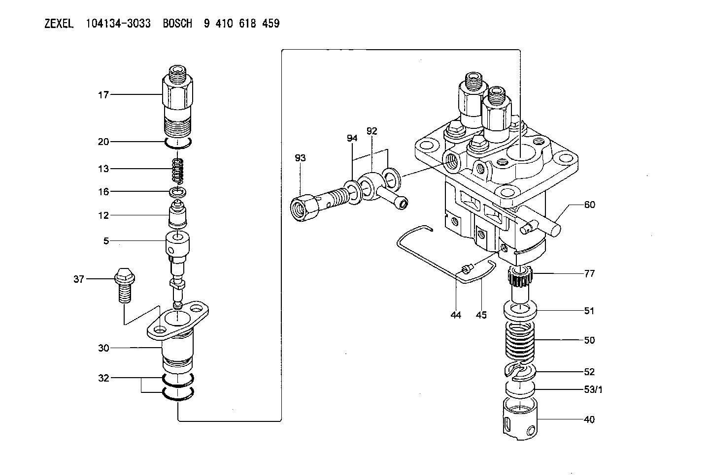 Buy 104134 3033 Zexel 9 410 618 459 Bosch Fuel Injection Pump