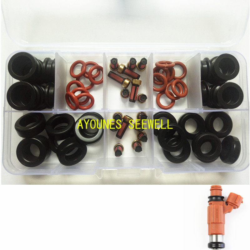 64pieces Fuel injector repair kit Orings filters grommets for yamaha outboard 115HP INP-771 CDH210 cdh275 (AY-RK053-2)